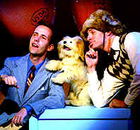 "Stage Show presentation of ""Road to Hollywood"" for the Goodspeed Opera House Pictured (r-l) Jeff Edgerton, Taffy, and Tom Plotkin. Phillip is manipulating standing behind Taffy on the box."